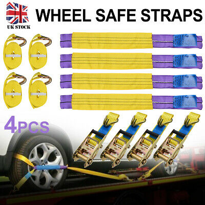 Professional Ratchet Recovery Straps Trailer Tie Down Alloy Wheel Straps Set x 4