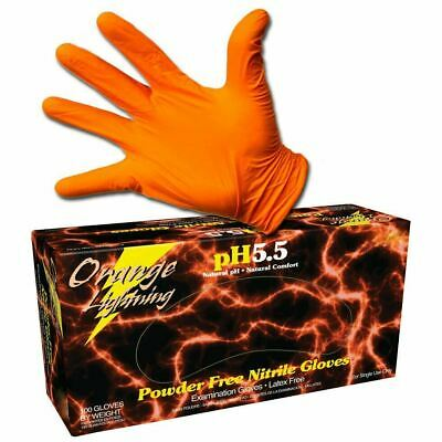 Atlantic Safety Orange Lighting Powder Free Nitrile Gloves - XL
