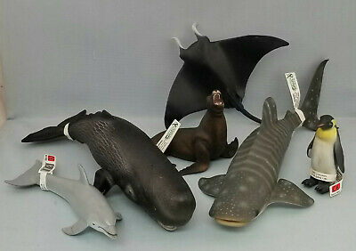 Collecta Model Sealife Toy Animal Figurines Group of 6 Penguin Whale Dolphin