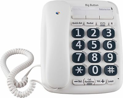 Bt Big Button 200 Home Or Office Corded Telephone White