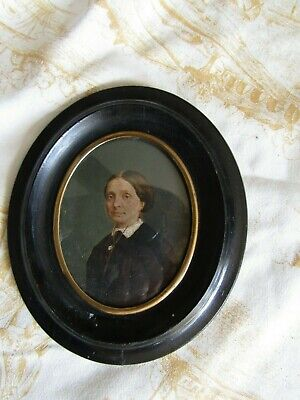 Lovely Antique Late 19Th Century Portrait Miniature Painting On Card Oval Frame