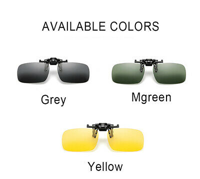 Clip On Flip Up Sunglasses Anti Glare Spectacles Lens Driving Travel Portable
