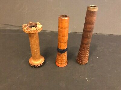 Lot of 3 Antique Vintage Wooden Textile Bobbins Spools Great Condition