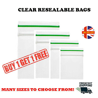 100 x Clear Small Plastic Bags Self Seal Baggy Grip Resealable Zip Lock Baggies