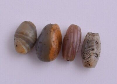4 Antique ancient banded agate Carnelian beads-Trade Beads