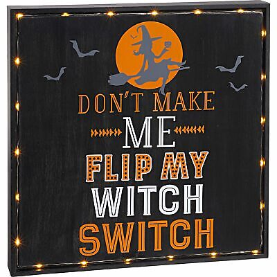 Light-Up Witch Switch Sign 12 Inches Square Free-Standing Mantel Lights Funny