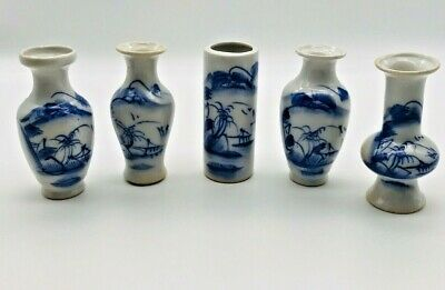 Small Vtg Atq Asian Chinese Blue and White Hand Painted Asian Porcelain Vase Lot