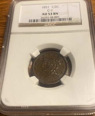 1851 Half Cent 1/2C  Graded  NGC   C-1 AU 53 Brown (BN) RARE HIGH GRADE