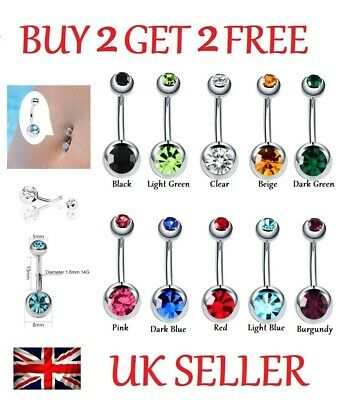 Belly Bar Navel Bar Button Ring Surgical Steel Double Crystal Gem Belly Bars