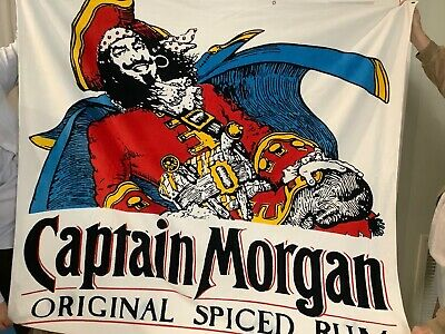 Captain Morgan Hanging Tapestry With Gold Rivets- RARE 5 Feet X 4-1/2 Feet