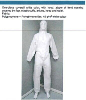 Disposable Medical Isolation Gown - Protective Clothing (S,M,L) WHITE