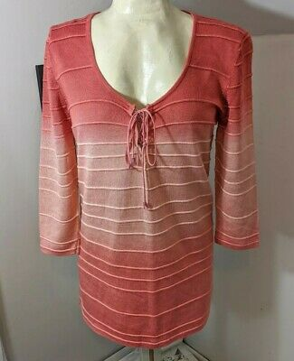 Double D Ranch Ombre Tunic peachy peach light pink medium. Top shirt blouse