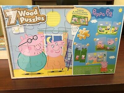 Peppa Pig 7 Wood Puzzles In Wooden Storage Box Brand New