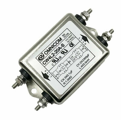 AC115-250V Power Line Anti-interference EMI Filter 10A 20A Rating Screw Type UK