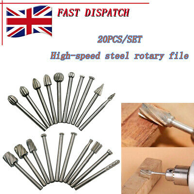 Dremel accessories- 20pcs HSS Router Grinding Burr Wood Rotary Files Set UK