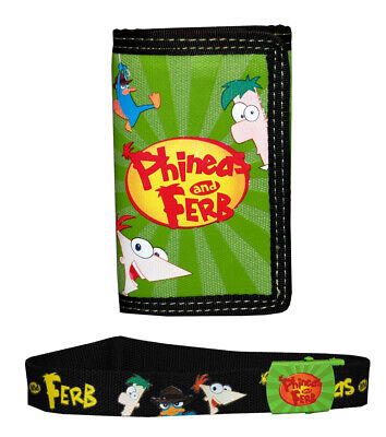 Phineas And Ferb Disney Logo Trifold Wallet With Kids Canvas Belt