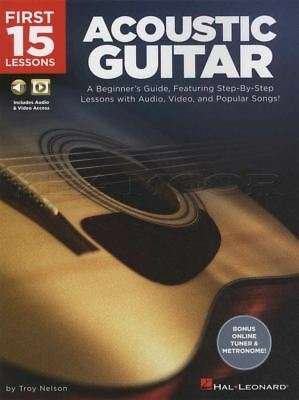 First 15 Lessons Acoustic Guitar TAB Book/Audio/Video Learn How To Play Method