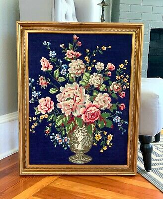 Large Needlepoint, Vintage Handmade Needlepoint Floral Art Framed Ready to Hang