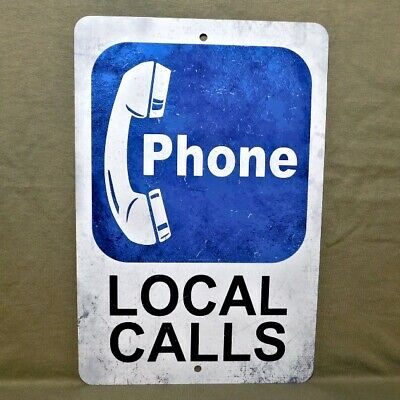 Metal Sign PHONE telephone pay public coin vintage replica booth rotary local