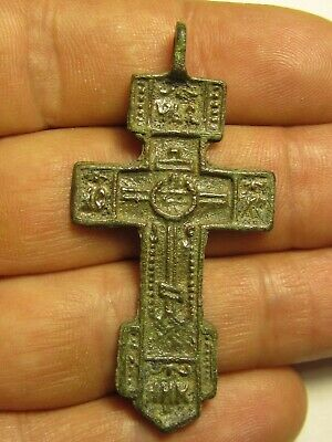 ANCIENT BRONZE CROSS RARE. RELIGIOUS ARTIFACT 16 CENTURY. 55 mm. №95