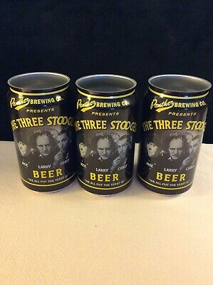 The Three Stooges Beer Cans by Panther Brewing Co. 3 Rare Open Top Cans