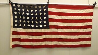 """Nice Vtg 48 Star American Flag Sewn/Stitched Cotton Bunting  36"""" x 75"""""""