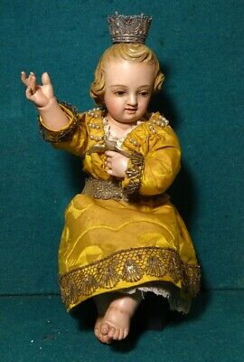 CHILD JESUS Antique 19th Cent. 230mm DRESSED WOOD FIGURE STATUE
