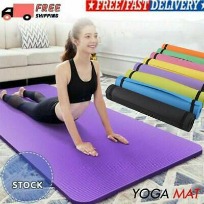 HOT Extra Thick Yoga Mat Non-Slip Exercise Pilates Gym Picnic Pad Carry Strap UK