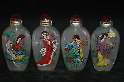 "4pc Chinese folk Inside painting ""Four Beauties Figure"" glass snuff bottle"