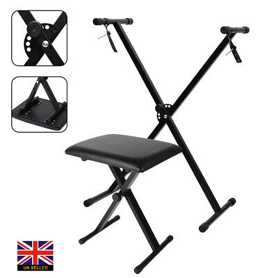 Folding Piano Keyboard Stand and Stool Set - X Frame Stand & Bench Adjustable UK