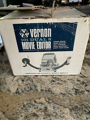 VINTAGE VERNON 101 Dual Super 8mm Movie Editor In Original Box w/ manual