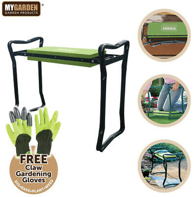 Portable Folding Garden Padded Kneeler & Seat Chair with Claw Gardening Gloves