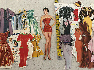 Vintage 1960S Paper Doll Brunette In Swimsuit 9 Inches With 15 Outfits