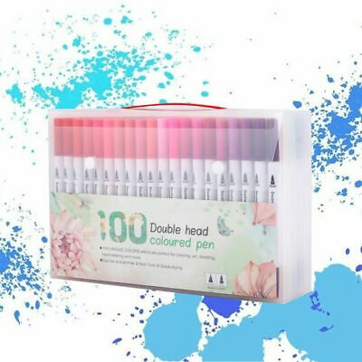 100 Colours Brush Pens Set Watercolour Dual Tips Art Markers For Adults Kids
