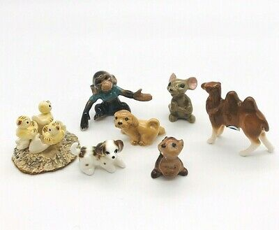 Vintage 7 Porcelain Hagen Renaker miniature figurines monkey dogs chipmunk mouse