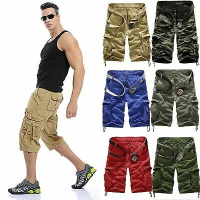Mens Military Army Camo Cargo Shorts Summer Jogger Work Pants Trousers Combat