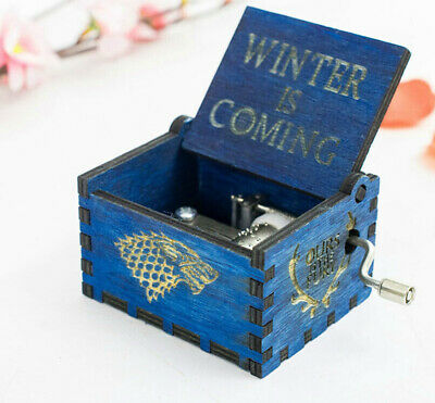 Blue Retro Wooden Music Box Toys Gift Game of Thrones Winter is Coming Wolf