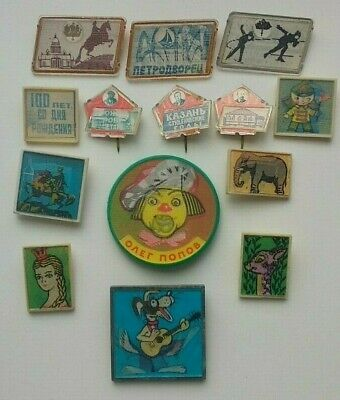 USSR badges collection of the 1970s. overflow icons, 3D stereo.