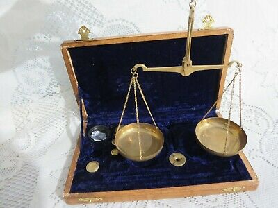 Vintage Hanging Brass Miner's Scale Weights Velvet Lined Box