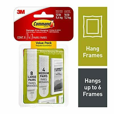 Command White Picture Hanging Strips Indoor Use Medium & Large Decorate Damag...