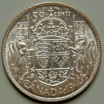 1942 Canada Canadian Silver King George VI Half 1/2 Dollar 50 Cent Coin