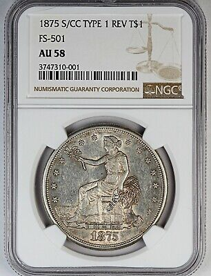 1875-S/CC NGC AU 58 United States Trade Dollar - FS-501 - Type 1 Rev