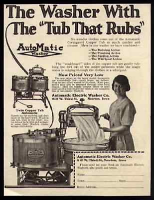 Washer Automatic Electric Tub That Rubs 1923 Photo AD