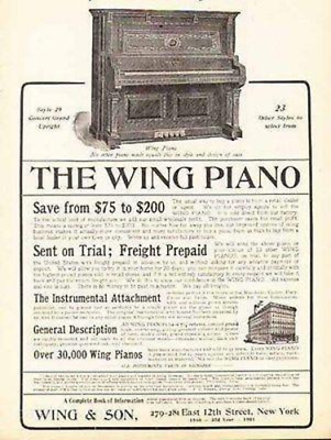 Antique Wing Piano 1901 Ad Musical Instrument Wing & Son New York
