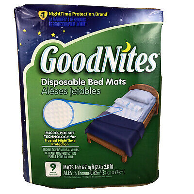 GoodNites Disposable Bed Mats 9 cnt 6.7 sq ft 2.4' x 2.8' Leak Barrier Absorbent