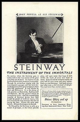 John Powell At His STEINWAY PIANO 1925 Ad Musical Instrument