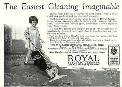 Little Girl Guides Royal Electric Cleaner 1926 Print AD