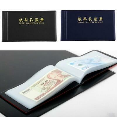 Leather Paper Money Collection Album Pockets Bill Notes Stamps Book H CL