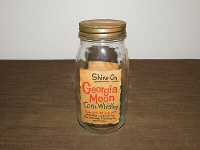 Vintage Moonshine Johnson Distilling Georgia Moon Corn Whiskey Glass Jar *Empty*