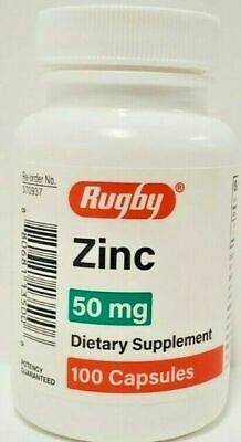 2 Bottles Rugby Zinc 50 mg 100 Capsules Each -Expiration Date 02-2022